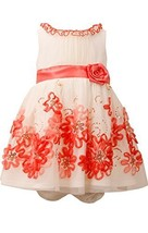 Baby Girls Infant Ivory/Coral Sequin Bonaz Border Mesh Overlay Dress, CR1MH, ...