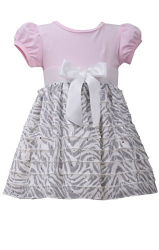 Little Girls 2T-4T Pink/Grey Knit to Spangle Zebra Stripe Eyelash Ruffles Dre...