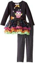 Baby Girls 3M-24M Black Witchy Owl Sparkle Tutu Dress/Legging Pants Set (0/3M... image 2