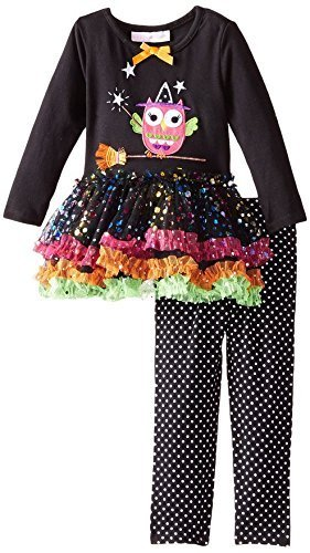 Baby Girls 3M-24M Black Witchy Owl Sparkle Tutu Dress/Legging Pants Set (3/6M...