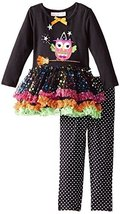 Baby Girls 3M-24M Black Witchy Owl Sparkle Tutu Dress/Legging Pants Set (3/6M... image 1
