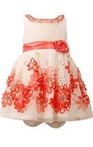 Baby Girls Infant Ivory/Coral Sequin Bonaz Border Mesh Overlay Dress, CR1HB, ...
