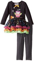 Baby Girls 3M-24M Black Witchy Owl Sparkle Tutu Dress/Legging Pants Set (3/6M... image 2