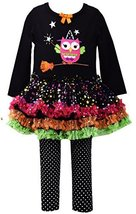 Baby Girls Newborn 3M-9M Black Witchy Owl Sparkle Tutu Dress/Legging Pants Se...