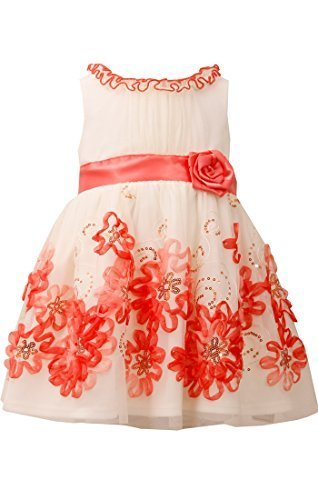 Little Girls Ivory/Coral Sequin Bonaz Border Mesh Overlay Dress, CR2BA, Coral...