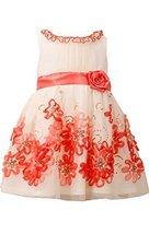 Little Girls Ivory/Coral Sequin Bonaz Border Mesh Overlay Dress, CR2BA, Coral...