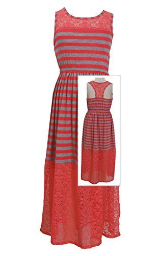 Big Girls Tween Coral/Grey Stripe Illusion Lace Maxi Tank Dress, CR4TA, Coral...