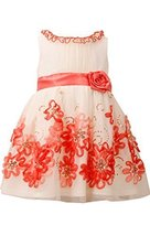 Little Girls Ivory/Coral Sequin Bonaz Border Mesh Overlay Dress, CR2BU, Coral...