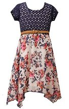 Little Girls Blue/White Belted Lace to Floral Chiffon Hanky Hem Dress, BU3BU,...