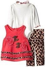 Bonnie Baby Baby-Girls Infant Fleece and Leopard Trim Jumper/Legging Set, W0-... image 2