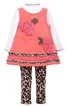 Little Girls Coral 3-Piece Bonaz Bows Hearts Fleece Jumper Dress/Legging Set,...