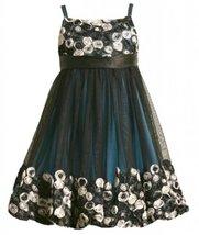Size-5, Teal, BNJ-1832B, Teal Bonaz Border Mesh Overlay Bubble Dress,Bonnie J...