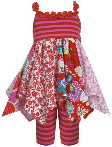 Red Multi Colorblock Mix Print Hanky Hem Dress/Legging Set RD2BU, Red, Bonnie...