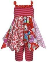 Red Multi Colorblock Mix Print Hanky Hem Dress/Legging Set RD2BU, Red, Bonnie...