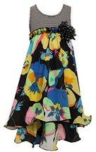 Little-Girls 2T-6X Black/White Multi Island Floral Print Chiffon High Low Dre...