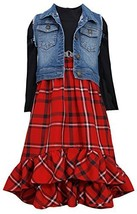 Bonnie Jean Big Girls 7-16 Rib Knit to Plaid Empire Waist Hi-Lo Dress/Vest Se...