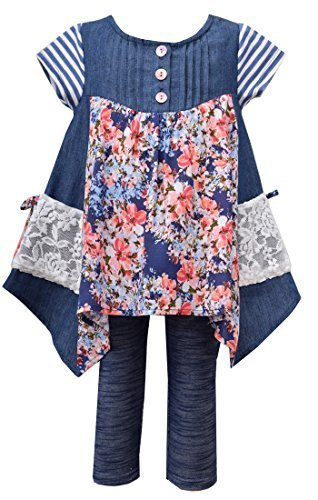 Little Girls Blue Chambray Mix Media Hanky Hem Dress/Legging Set, BU2BA, Blue...