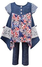 Little Girls Blue Chambray Mix Media Hanky Hem Dress/Legging Set, BU2BU, Blue...