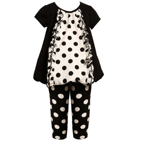Size-2T BNJ-5314B 2-Piece BLACK WHITE Polka Dot Panel Ruffle Front Bubble Hem...