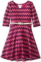 Bonnie Jean Big Girls 7-16 Metallic Lurex Chevron Stripe Belted Knit Dress (6...