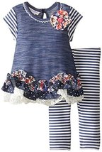 Bonnie Baby Baby-Girls Newborn Chambray Knit To Stripe Legging Set, Blue, 0-3...