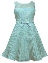 Big-Girls Tween 7-16 Aqua-Blue Illusion Lace Sunburst Crystal Pleat Dress, 8,...