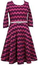 Tween Big-Girls 7-16 Magenta Metallic Lurex Chevron Stripe Belted Knit Dress ...