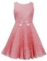 Big-Girls Tween 7-16 Coral-Pink Illusion Lace Sunburst Crystal Pleat Dress, 8...
