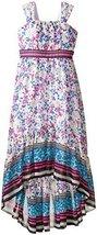 Little Girls Magenta/Multi Floral Print Chiffon High Low Maxi Dress, Magenta, 6 image 2