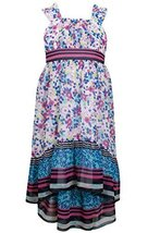 Little-Girls 2T-6X Magenta/Multi Floral Print Chiffon High Low Maxi Dress, 6X...