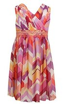 Big-Girls TWEEN 7-16 Coral Multi Geometric Chevron Stripe Chiffon Dress, 7, C...