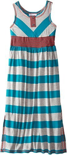 Bonnie Jean Big Girls' Wide Stripe Maxi Dress, Turquoise, 16 [Apparel]