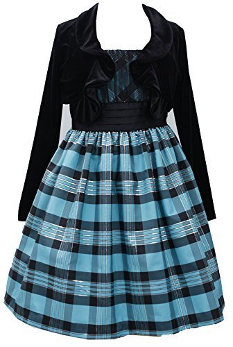 Little Girls 2T-6X Turquoise Black Metallic Plaid Dress/Jacket Set, TQ3NA, Tu...