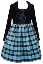 Little Girls 2T-6X Turquoise Black Metallic Plaid Dress/Jacket Set, TQ3NA, Tu...