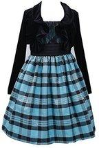 Bonnie Jean Little Girls Turquoise Black Metallic Plaid Dress/Jacket Set (5, ... image 2