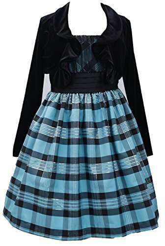 Little Girls 2T-6X Turquoise Black Metallic Plaid Dress/Jacket Set, TQ3SA, Tu...