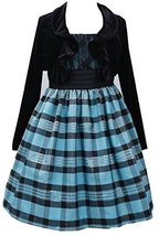 Little Girls 2T-6X Turquoise Black Metallic Plaid Dress/Jacket Set, TQ3SA, Tu... image 1