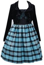 Little Girls 2T-6X Turquoise Black Metallic Plaid Dress/Jacket Set, TQ3SA, Tu... image 2