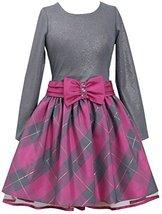Bonnie Jean Little Girls 2T-6X Shimmer Knit to Metallic Plaid Taffeta Dress (...