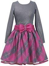Bonnie Jean Little Girls 2T-6X Shimmer Knit to Metallic Plaid Taffeta Dress (... image 2