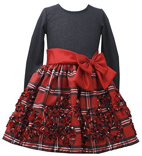Little Girls 4-6X Shimmer Knit to Metallic Plaid Bonaz Taffeta Dress, RD3BU, ...