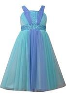 Big Girls Tween Aqua-Blue Sequin Colorblock Mesh Overlay Dress, AU4MS, Aqua, ...