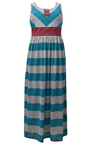 Little Girls Turquoise/Grey Side Slit Stripe Knit Maxi Tank Dress, TQ3NA, Tur...
