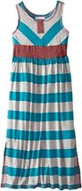 Bonnie Jean Big Girls' Wide Stripe Maxi Dress, Turquoise, 10 [Apparel]
