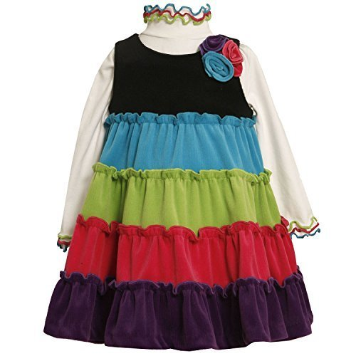 Bonnie Jean Baby Girls 3M-24M Tiered Coloblock Velour Knit Jumper Dress (3/6M...