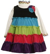 Bonnie Baby-Girls Newborn Multi Tiered Colorblock Ribbed Velour Jumper (12 Mo...