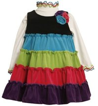 Bonnie Jean Little Girls' Colorblock Tie Corduroy Jumper Set, Multi, 3T image 1