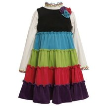 Bonnie Jean Little Girls' Colorblock Tie Corduroy Jumper Set, Multi, 3T image 2