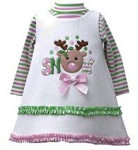 Baby-Girl Infant 12M-24M Ivory Snow Reindeer Fleece Jumper Dress Set, IV1HB, ...