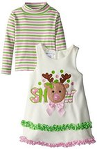 Bonnie Jean Little Girls 2T-6X Ivory Snow Reindeer Fleece Jumper Dress Set (3T)